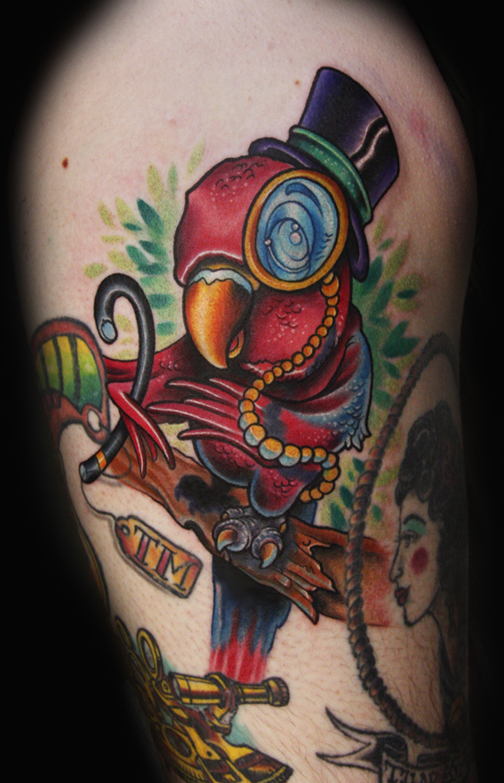 The coloring of this parrot tattoo isn't anything to brag about,