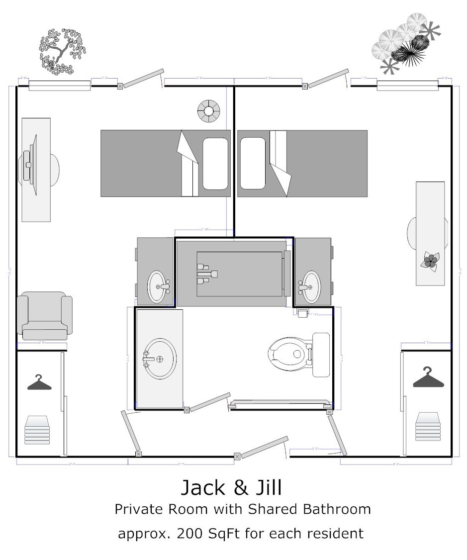Virtual tours for Jack and jill bathroom with hall access